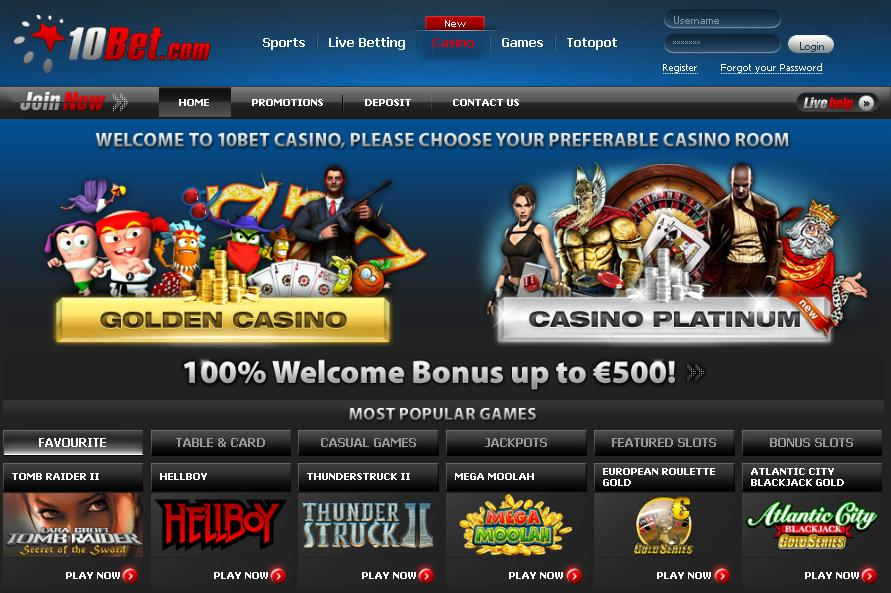 10Bet casino games by Microgaming