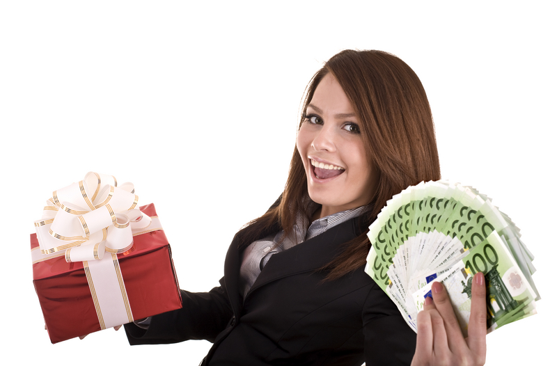 woman with prize and money