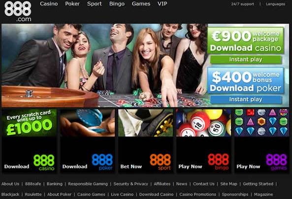 888casino website screenshot