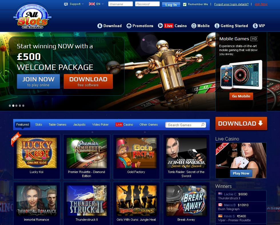 All Slots Casino website screenshot