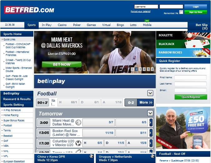 Betfred SportsBook website screenshot
