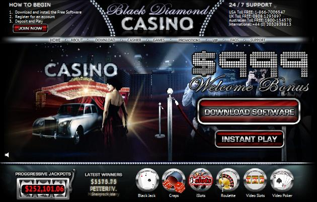 Black Diamond Casino website screenshot