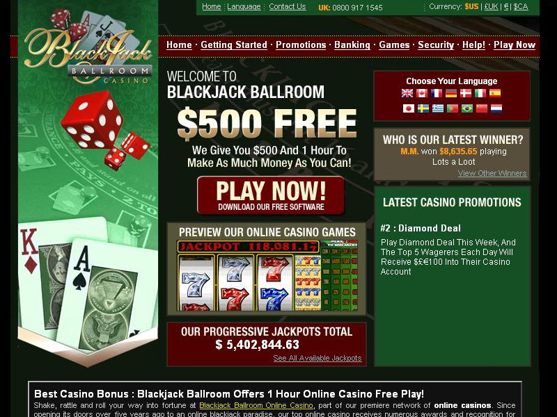 Blackjack Ballroom website screenshot
