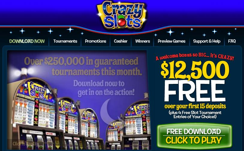 Crazy Slots Website Screenshot