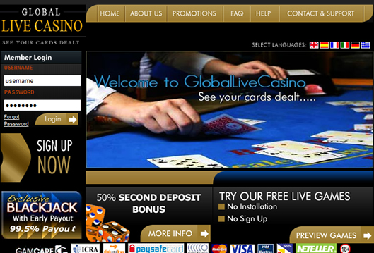 Global Live Casino website screenshot