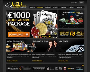 GoWild Casino website screenshot