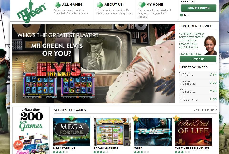 Mr. Green Casino website screenshot