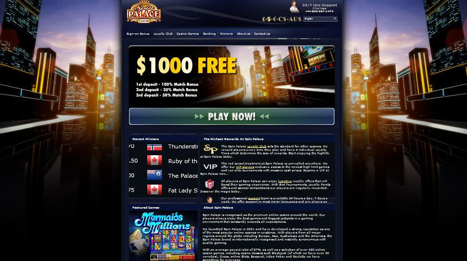 Spin Palace Online Casino Website Screenshot