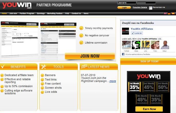 Youwin Affiliate Programme website screenshot
