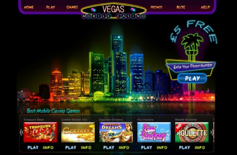 Vegas Mobile Casino Website Screenshot