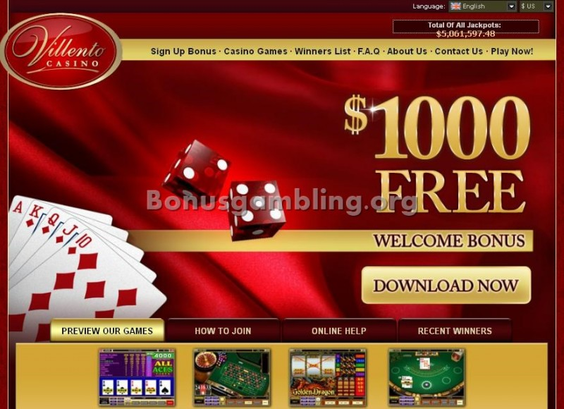 Villento Casino Website Screenshot